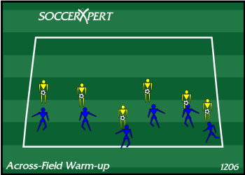 Soccer Drill Diagram: Across-Field Warm-Up