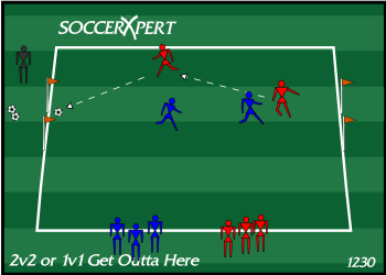 Soccer Drill Diagram: 2v2 or 1v1 - Get Outta Here