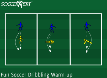 Soccer Drill Diagram: Fun Soccer Dribbling Warm-up