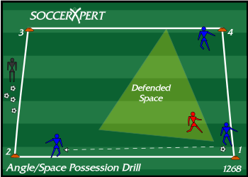 Soccer Drill Diagram: Angle of Support Possession Drill