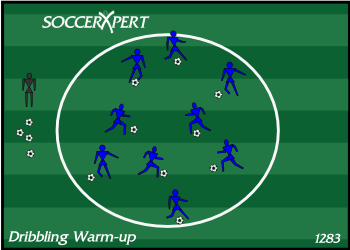 Soccer Drill Diagram: Soccer Dribbling and Juggling Warm-up