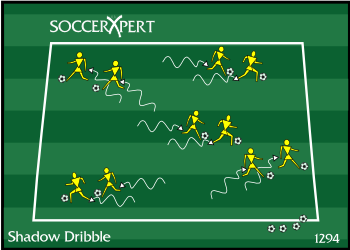 Soccer Drill Diagram: Shadow Dribbling