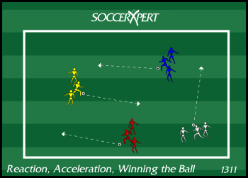 Reaction, Acceleration, and Winning the Ball, soccer fitness drill