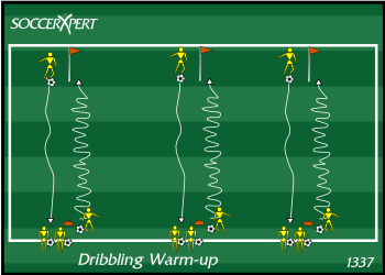 Soccer Drill Diagram: Dribbling Warm-up Drill