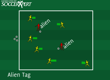 Soccer Drill Diagram: Alien Tag Soccer Game